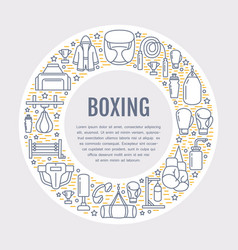 Boxing poster template sport training line vector