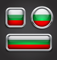 Bulgaria flag glass buttons vector image vector image