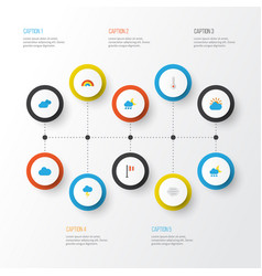 Climate flat icons set collection of banner the vector