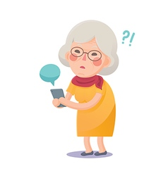 Confused grandma using smart phone vector
