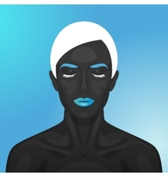 Female model with blue glossy lips vector