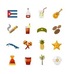 Flat color isolated cuba icons vector