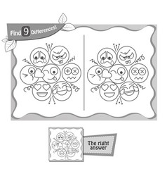 Game black find 9 differences emotions vector