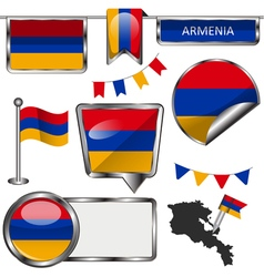 Glossy icons with armenian flag vector