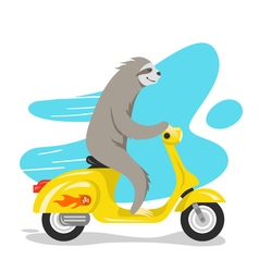 happy cute sloth riding on scooter Retro style vector image