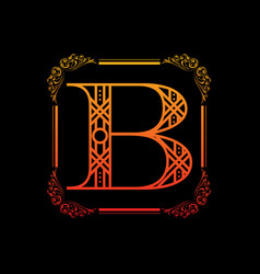 letter b with ornament vector image