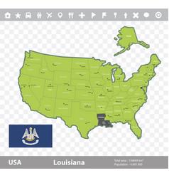Louisiana flag and map vector
