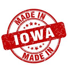 Made in iowa red grunge round stamp vector