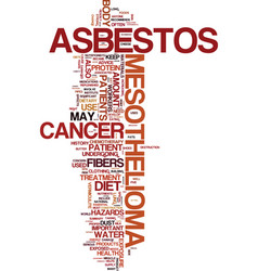 Mesothelioma history hazards and dietary advice vector