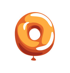 Orange letter o from english alphabet in shape of vector