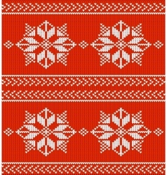 red and white knitted background vector image vector image