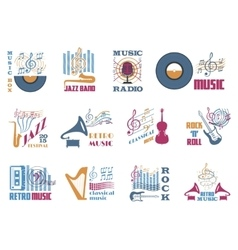 Retro music emblems vector image