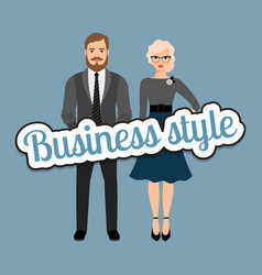 Retro style business fashion couple vector