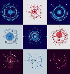 Set of abstract backgrounds created in Bauhaus vector image