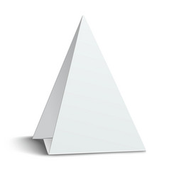 three-cornered triangular blank paper table card vector image vector image