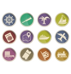 Travel web icons vector