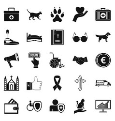 Welfare icons set simple style vector
