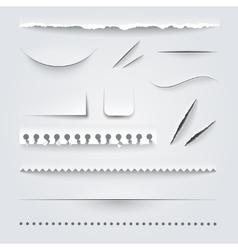 White paper edges shadows realistic set vector