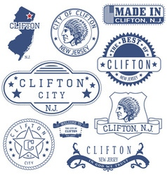 Clifton city new jersey stamps and seals vector