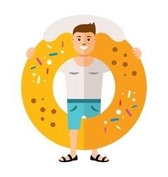 Donut boy flat style colorful cartoon vector