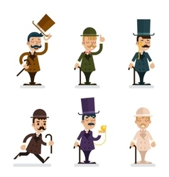 Victorian gentleman characters icons set isolated vector