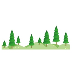 Spruce summer forest in horizontal seamless border vector