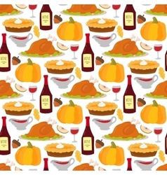 Happy thanksgiving food seamless pattern vector