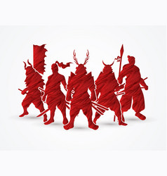 Group of samurai warrior pose vector