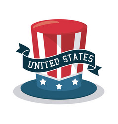 top hat united states celebration ribbon design vector image