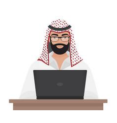 Arab muslim businessman or programmer working with vector
