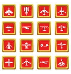 Aviation icons set red vector