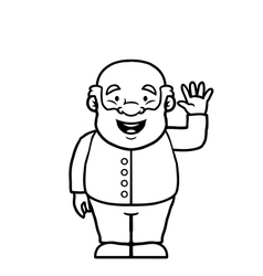 Black and white old man waving at camera vector image