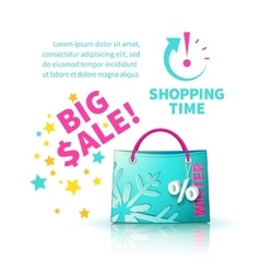Bright blue shopping bag vector