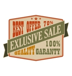 Exclusive sale vintage banner vector