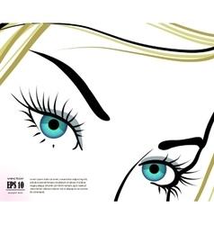 Beautiful blue eyes with long eyelashes vector