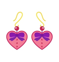 Hearts earrings beautiful pink accessory isolated vector