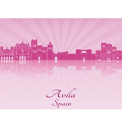 Avila skyline in purple radiant orchid vector image vector image