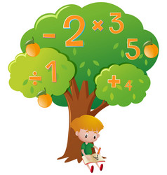 Boy doing math problem under the tree vector
