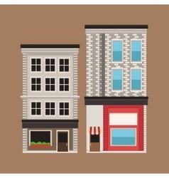 Building twon store facade vintage vector