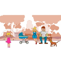 Cartoon ideal family are in the park vector image