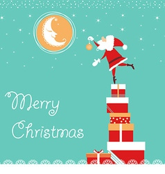 christmas card with Santa and nice moon blue card vector image vector image