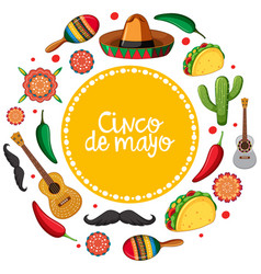 cinco de mayo card template with mexican musical vector image vector image