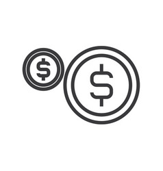 coins usd line icon sign on vector image vector image