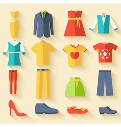 Collection style fashion clothing for people icon vector
