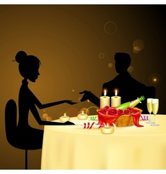 Couple taking candle light dinner vector