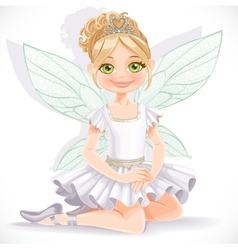 Cute fairy girl in white dress and tiara sit on vector