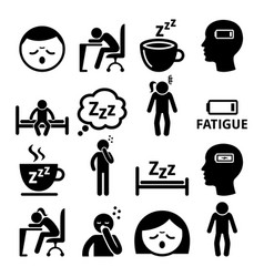 fatigue icons tired sleepy man and woman vector image vector image