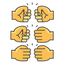 Fist bump union friendship concept line vector