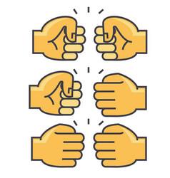 fist bump union friendship concept line vector image vector image