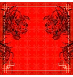 Frame red dragon gold-colored sticker 3 vector
